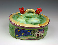 Night and Day Oval Box by Peggy Crago (Ceramic Box)