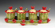 Poppies Condiment Set by Peggy Crago (Ceramic Serving Piece)