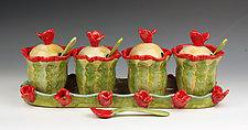 Poppies Condiment Set by Peggy Crago (Ceramic Serving Piece)