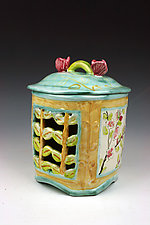 Orchard Blossoms Carved Box with Lid by Peggy Crago (Ceramic Box)