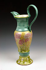 Pink Poppy Pitcher by Peggy Crago (Ceramic Pitcher)