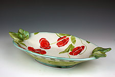 Poppy Oval Bowl with Leaves by Peggy Crago (Ceramic Bowl)