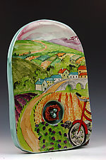 Bicycling by Peggy Crago (Ceramic Wall Sculpture)