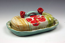 Poppies Covered Cheese Plate by Peggy Crago (Ceramic Serving Ware)