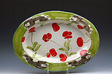 Rabbit and Poppies Oval Platter by Peggy Crago (Ceramic Platter)