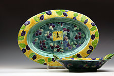 Berry Oval Platter & Bowl by Peggy Crago (Ceramic Bowl & Platter)