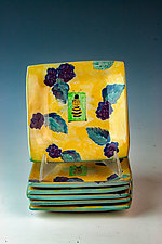 Blackberry with Bee Small Dessert Plates by Peggy Crago (Ceramic Serving Piece)