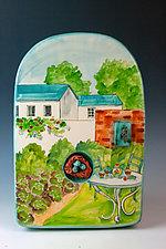 Tea in the Garden IV by Peggy Crago (Ceramic Wall Sculpture)