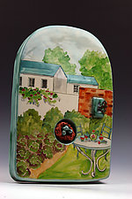 Tea in the Garden II by Peggy Crago (Ceramic Wall Sculpture)