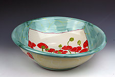 Poppies Salad Bowl 1 by Peggy Crago (Ceramic Bowl)