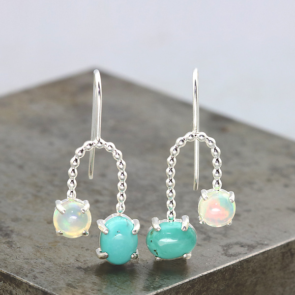 Turquoise and Opal Orbit Earrings
