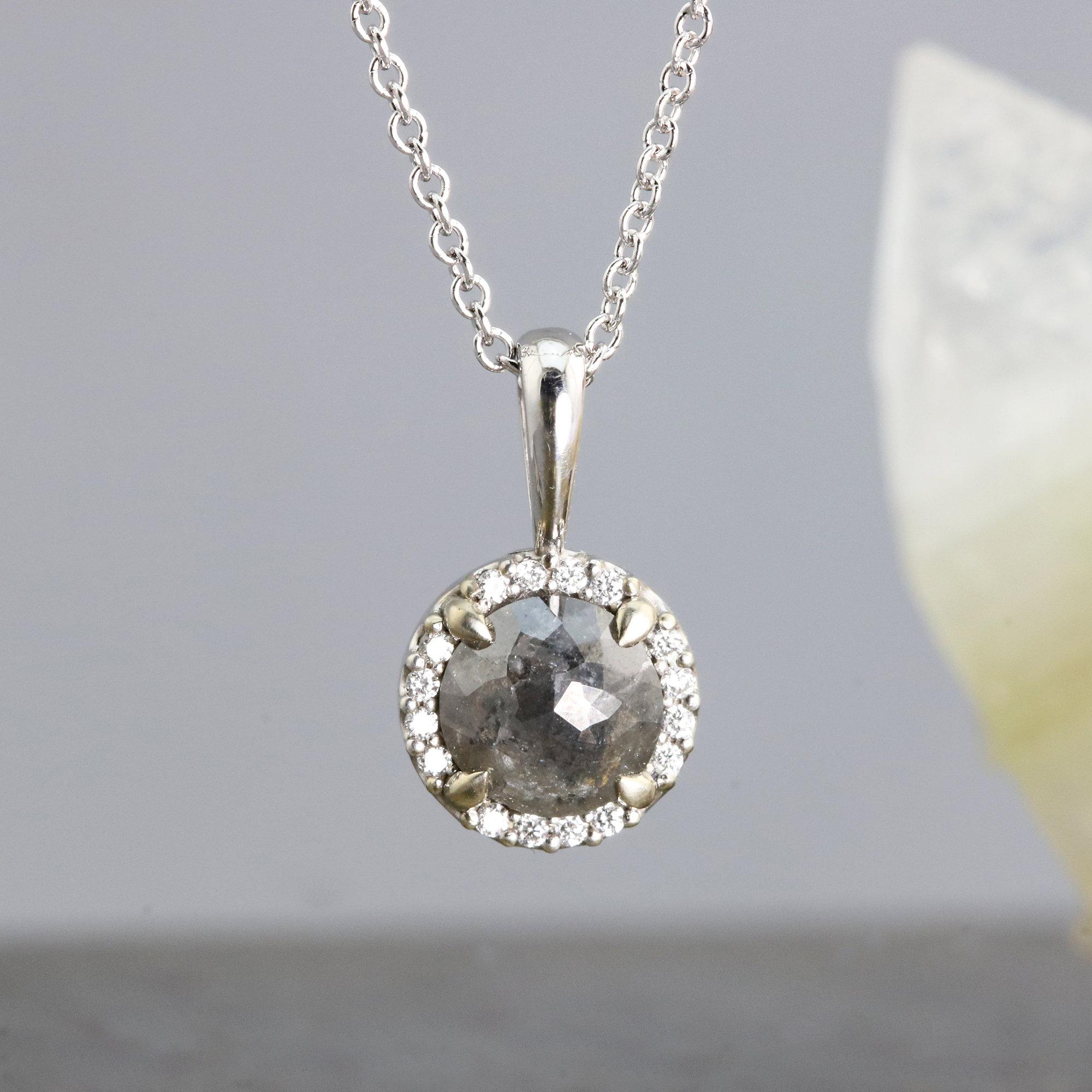 Dark Gray Rose Cut Diamond Pendant Necklace By Sarah Hood