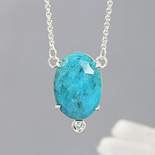 Turquoise Pendant Necklace with Small Moissanite by Sarah Hood (Silver & Stone Necklace)