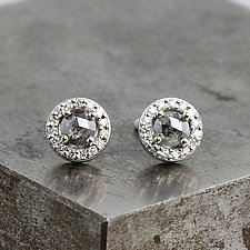 White Gold Halo Earrings with Rose Cut Black Diamonds by Sarah Hood (Gold & Stone Earrings)