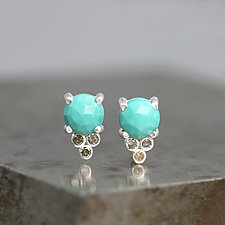 Rose Cut Turquoise Stud Earrings with Diamonds by Sarah Hood (Silver & Stone Earrings)