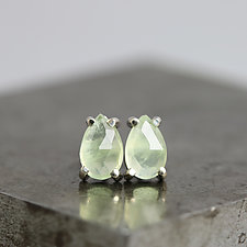 Rose Cut Pear Prehnite Stud Earrings by Sarah Hood (Gold & Stone Earrings)