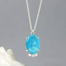Turquoise and Three Moissanite Pendant Necklace by Sarah Hood (Silver & Stone Necklace)
