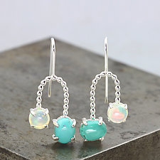 Turquoise and Opal Orbit Earrings by Sarah Hood (Silver & Stone Earrings)