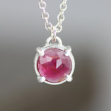 Rose Cut Pink Tourmaline Pendant Necklace by Sarah Hood (Silver & Stone Necklace)