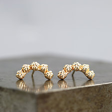 Little Bud Curve Earrings in 14k Yellow Gold by Sarah Hood (Gold & Stone Earrings)