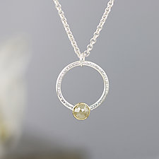 Hammered Circle Pendant Necklace with Rose Cut Yellow Diamond by Sarah Hood (Gold, Silver & Stone Necklace)
