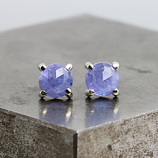 Rose Cut Tanzanite Stud Earrings by Sarah Hood (Gold & Stone Earrings)