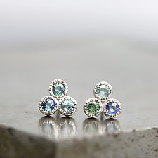 Three Stone Sapphire Stud Earrings by Sarah Hood (Silver & Stone Earrings)