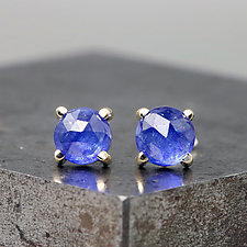 Rose Cut Blue Sapphire Stud Earrings by Sarah Hood (Gold & Stone Earrings)