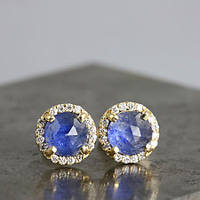 Yellow Gold Halo Earrings with Rose Cut Blue Sapphire by Sarah Hood (Gold & Stone Earrings)