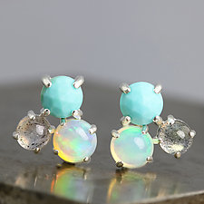 Cluster Earrings with Turquoise, Opal, & Labradorite by Sarah Hood (Silver & Stone Earrings)