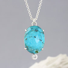 Turquoise Pendant Necklace with Large Moissanite by Sarah Hood (Silver & Stone Necklace)