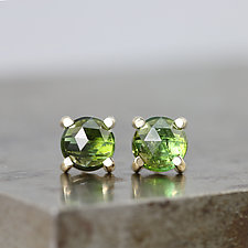 14k Yellow Gold Stud Earrings With Green Tourmaline by Sarah Hood (Gold & Stone Earrings)