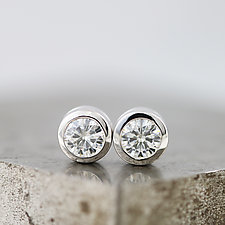White Gold Moissanite Stud Earrings by Sarah Hood (Gold & Stone Earrings)