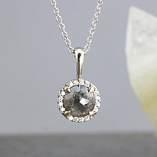 Dark Gray Rose Cut Diamond Pendant Necklace by Sarah Hood (Gold & Stone Necklace)