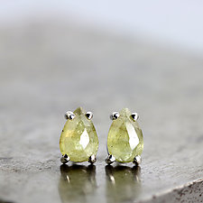 14k White Gold Stud Earrings with Green Sapphire Pears by Sarah Hood (Gold & Stone Earrings)