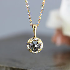Black Rose Cut Diamond Pendant Necklace by Sarah Hood (Gold & Stone Necklace)