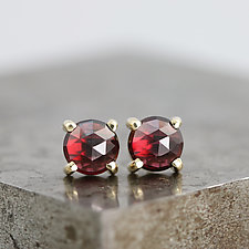14k Yellow Gold Stud Earrings with Rhodolite Garnet by Sarah Hood (Gold & Stone Earrings)