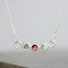 Three Stone Pendant Necklace by Sarah Hood (Silver & Stone Necklace)