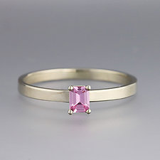 White Gold Pink Sapphire Ring- Size 7.5 by Sarah Hood (Gold & Stone Ring)
