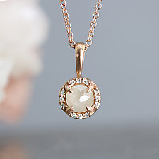 Rose Gold Halo Pendant Necklace by Sarah Hood (Gold & Stone Necklace)