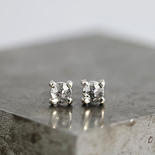 Rose Cut Black Diamond Stud Earrings by Sarah Hood (Gold & Stone Earrings)