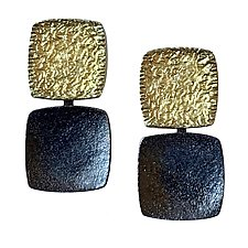 Attracting Squares Earrings by Susan Barth (Gold & Silver Earrings)