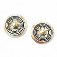Circles and Shell Earrings by Susan Barth (Gold, Silver, Shell & Pearl Earrings)