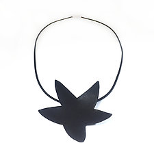 Black Spikey Pendant Necklace by Christy Klug (Enamel Necklace)