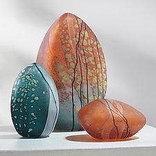 Autumn Stone Trio by Melanie Guernsey-Leppla (Art Glass Sculpture)