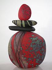 Red Marker by Melanie Guernsey-Leppla (Art Glass Sculpture)