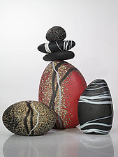 Redstone Cairn Grouping by Melanie Guernsey-Leppla (Art Glass Sculpture)