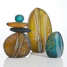 Creekside Moss Cairn Trio by Melanie Guernsey-Leppla (Art Glass Sculpture)