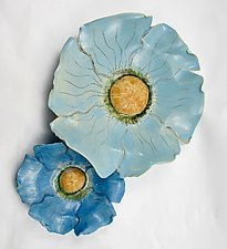 Blue Poppies for Sandra by Amy Meya (Ceramic Wall Sculpture)