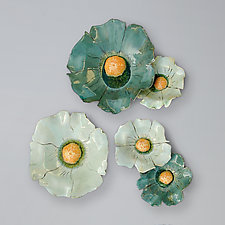 French Blue Poppies by Amy Meya (Ceramic Wall Sculpture)